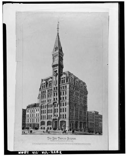 "Corporate architecture before the skyscraper. New York City's Tribune Building was completed in 1874, just after the stock market ""panic"" of 1873."
