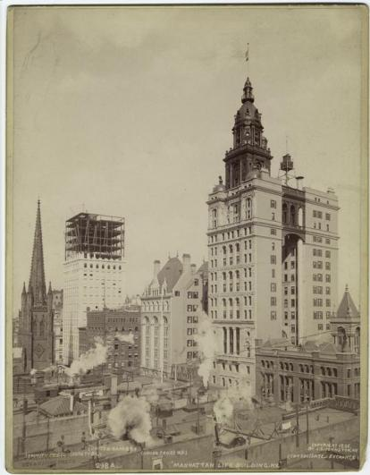 The Manhattan Life Insurance Building opened for buisness in 1894, right after the 1893 Panic