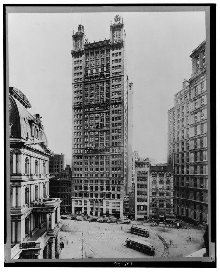 The 30-story Park Row Building, across from New York City Hall, opened in 1899, in time for the Panic of 1901.
