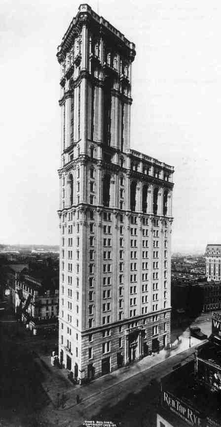 The original Times Building, on Times Square, opened in 1905.