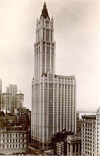 57 stories and 241 meters in height, the Woolworth Building, completed in 1913, remained the tallest in the world until 1930.