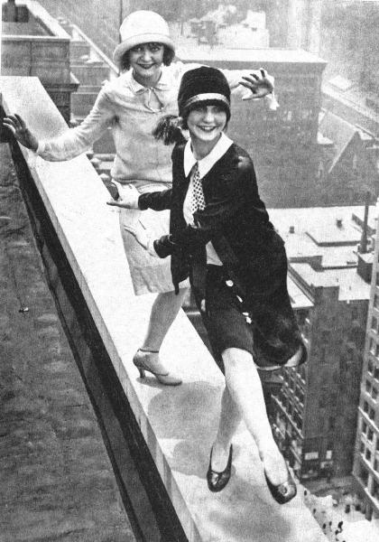 Skyscraper index meets hemline index: Flappers Charleston amidst Manhattan towers. Could times get any better?