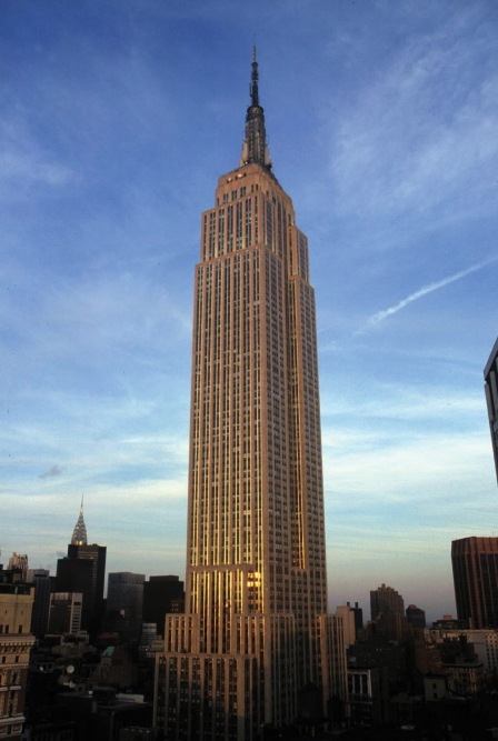 Mother of all skyscrapers, the Empire State Building opened in May 1930. With 82 rentable floors, its 381 meters almost dwarfed the Chrysler Building (visible to the left).