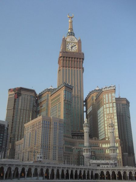 Second tallest building in the world since it opened last year (2012), Abraj al-Bait Tower literally towers of the Holy Ka'ba in Mecca.